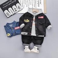 Wholesale boys outfits formal suit resale online - Casual baby boys suits baby boy clothes denim jacket hoodie Jeans Pants kids sets designer baby outfits boys designer clothes A8231