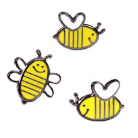 sarı elbise karikatür toptan satış-Yağ damla Sarı Güzel Arı Kadın Kızlar için Broşlar Iğneler Çocuk Karikatür Hayvan Takı Gömlek Elbise Ceket Arı Broşlar