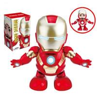 ingrosso giocattolo azione figure robot-Danza Iron Man Musica eroe Marvel Avengers Action Figure Toy Torcia a LED con musica leggera Suono Robot Iron Man Hero Toy elettronico