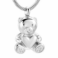 urso jóias homens venda por atacado-ZZL067 Pet Memoria Jóias Para Cinzas - Urso Segure Coração Lembrança de Aço Inoxidável Urna Pingente Para As Mulheres Homens Colar de cremação