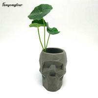 ingrosso fiore concreto-3d cranio geometria flower pot stampo concreto stampo in silicone fai da te portapenne cemento gesso stampo decorazione della casa strumenti q190430