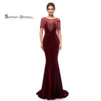Wholesale neckline communion dress resale online - 2019 Burgundy Velvet Sexy Mermaid Prom Dresses Jewel Neckline With Beads Formal Evening Party Gowns
