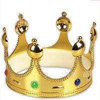 königin party liefert großhandel-Queens Crown Kunststoff Gold Silber Metall Farben Mode Holloween Festliche Supplies Caps Geburtstag Geschenke Party Hüte Heißer Verkauf 2 8wpE1