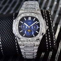 Wholesale cheap watches online - New G CNC engraving Punk Steel Case D Blue Automatic Moon Phase Complex Function Mens Watch Stainless Steel Cheap Puretime B322a1