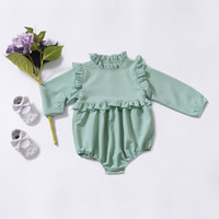 Wholesale baby clothes sizes online - baby girl clothing romper spring solid color design round collar long sleeve romper clothes