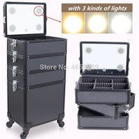 Wholesale trolley case luggage for sale - Group buy Multi layer Aluminum frame Cosmetic Case Dresser Makeup Toolbox with light Makeup artist Suitcase Box Trolley Luggage Bag