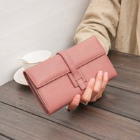 Wholesale korean pillow covers resale online - 100 Genuine Leather Womens Wallets and Purses Litchi Soft Purse Fashion Ladies Long Wallets Zipper Card Holder Carteira Feminina