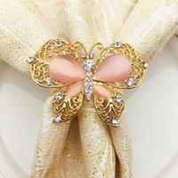 ingrosso anelli di tovagliolo farfalla nozze-10pcs high-end farfalla portatovagliolo diamante lega tovagliolo fibbia hotel banchetto decorazione di cerimonia nuziale