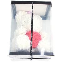 ingrosso rose colorate-40cm Orsacchiotto con la parte superiore in contenitore di regalo Orso Di Regali Rose Fiore artificiale nuovo anno per le donne di San Valentino regalo Bianco