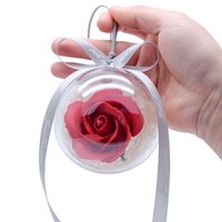 Wholesale flower pouches weddings resale online - Fashion new flower stand rose glass crystal ball artificial flower stand wedding Valentine s day gift bag car ornaments keychain
