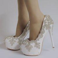 gelinler beyaz pompa düğün ayakkabısı toptan satış-Kristal Kraliçe Düğün Ayakkabı Gelin Topuklar Kristal Akşam Partisi 14cm Kare topuk Artı Boyut Beyaz pompaları