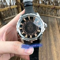 Wholesale man steel 3d resale online - High version EXCALIBUR RDDBEX0495 D Gold Copper Man Dial Silver Steel Case Mechanical Movement Mens Watch Black Leather Strap Luxry Watches