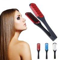 saçları incitmek toptan satış-Kuaförlük Düzleştirici Seramik Saç Düzleştirici Çift Fırçalar V şekli Tarak Kelepçe Şekillendirme Araçları DHL Saç Araçlar Hurt Değil