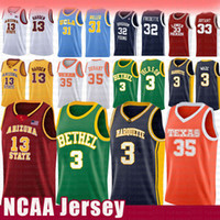 Wholesale black green basketball jerseys for sale - Group buy Dwyane Wade Allen Iverson NCAA Jersey Marquette Golden Eagles Kevin Durant Bethel High School Arizona James Harden State Raiders