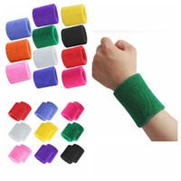 pulseiras de toalha venda por atacado-Sweat Toalha Bracers Sports Musculação Aptidão Execução Basquete Pulseiras de Algodão Respirável Sports Wrist Guard 11 Cores ZZA942