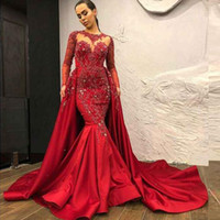 Wholesale modest prom dresses cap sleeves for sale - Group buy Dubai Arabic Modest High Neck Red Evening Prom Dresses With Detachable Overskirt Sheer Long Sleeve Appliques Beads Satin Long Pageant Gowns