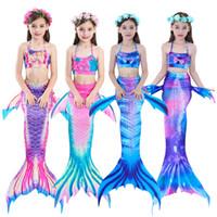 sereia trajes criança venda por atacado-2019 Novas Crianças Mermaid Tails Swimwear 4-12Y Crianças Meninas Trajes de Natação Bebê Biquíni Maiô Sereia Maiô 3 Pçs / sets roupas
