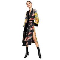 gelbe strickjacke lang großhandel-Damen Shirt Boho Kimono Lange Strickjacke Floral Langarm Flare Sleeve Übergroße Gelbe Bluse Blusas Mujer De Moda Q190425
