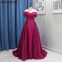 ingrosso abiti da sera rosa oro-Hot Pink Fuchsia Bling Prom Dresses Dubai Long Off spalla arabo abiti da sera del partito 2019 Paillettes oro elegante formale