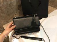 bolsa de caixa vermelha de mensageiro venda por atacado-A última moda completa couro genuíno Bolsas Ladies Shoulder Mensageiro Mobile Phone Bag Black Red Com Box