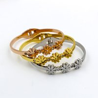 Wholesale small steel springs resale online - Fashion Zircon Three Small Wrinkled Chrysanthemum Bracelet Titanium Steel Spring Open Bracelet for Women Jewelry Gift