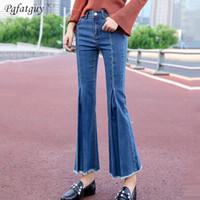 Jeans Weibliche Jeans Sky Blue Dark Blue Damen Jeans Quaste Bottoms Feminino Skinny Pants für Frauen Breite Beinhose 2019