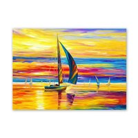 Wholesale oil painting for wall decoration resale online - W357 Sailboat Unframed Art Wall Canvas Prints for Home Decorations
