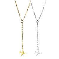 aviões de ouro venda por atacado-Colar de avião Mini Silver Gold Plane Pingente Correntes Colar Para As Mulheres Da Moda Jóias Presente Da Gota grátis