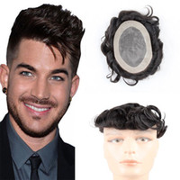 Wholesale full lace toupee resale online - 120 Density Human Hair Toupee for Men with x6 Inch Full French Lace Base and Black Vrigin Hair Mens Toupee Wigs Hair Pieces