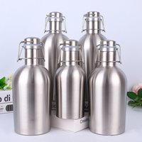 Wholesale swing wall for sale - Group buy 32oz Stainless Steel Beer Growler Single Wall Growlers oz Hip Flasks Swing Whiskey Cold Beer Bottle With Lid Hip Flask