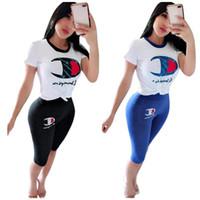 Wholesale designer cotton short piece resale online - Summer Casual Champions Letter Tracksuit Women Designer Clothes Set Outfits Short Sleeves T shirt Middle Trousers Leggings Suit C41602