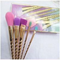 conjunto de escova de maquiagem de navio venda por atacado-Conjuntos de pincéis de maquiagem escova de cosméticos 5 cores brilhantes rosa ouro Espiral haste de make-up escova unicórnio parafuso ferramentas de maquiagem Frete grátis