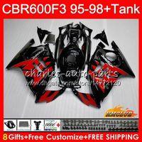 verkleidung für cbr f3 großhandel-Body + Tank für HONDA CBR 600F3 600cc CBR600 F3 95 96 97 98 41HC.123 CBR 600 FS F3 CBR600FS CBR600F3 1995 1996 1997 1998 rot schwarz Fairing