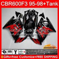 honda cbr f3 carenados al por mayor-Cuerpo + tanque para HONDA CBR 600cc 600F3 CBR600 F3 95 96 97 98 41HC.123 CBR 600 F3 FS CBR600FS CBR600F3 1995 1996 1997 1998 carenado negro rojo