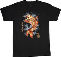 ingrosso uomini alti stile casuale-Grande e camicie alti per gli uomini pesci koi stile decalcomania tee shirt tatuaggio giapponese logoCool casual orgoglio uomini della maglietta unisex