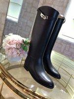 estilos de lycra simples venda por atacado-Joelho Botas De Cano Alto moda Botas Mulheres Planas Botas de Motocicleta Botas De Couro Estilo simples Wonter Sapatos de Mulher Sapatos de Marca