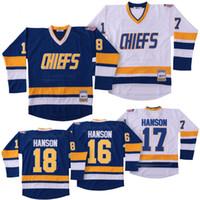 Wholesale steve red for sale - Mens Hanson Brothers Charlestown Hockey Jerseys Jack Steve Jeff SlapShot Movie Jerseys Stitched Size S XXXL