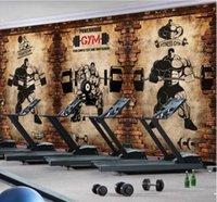 ingrosso carta da parati del club-3d 3D Wallpaper personalizzato murales 3D Wallpaper Palestra nostalgici muro di mattoni arredamento retrò sport fitness club pesi muro sfondo