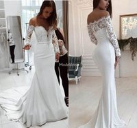 Wholesale mermaid style bridal gowns for sale - Group buy Elegant New Mermaid Lace Wedding Dresses Illusion Long Sleeves Sweep Train Garden Bridal Gowns Country Style Castle Chapel Wedding Gown