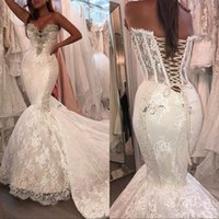Wholesale lace chapel train mermaid wedding dress for sale - 2019 Sexy Wedding Dresses Lace Appliques Crystal Beaded Mermaid Tulle Chapel Train Bridal Gowns Custom Made