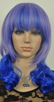 ingrosso porpora parrucca media-WIG HOT vendere Free New Blue Light Purple misto Media parrucca Cosplay con Hairnet MA16
