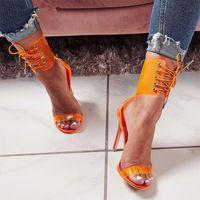 schnüren sie sich sexy stilette großhandel-Transparente Peep Toe Lace Up High Heel Sandalen Sexy Kleid Heels für Damen Damen Stöckel Absatz Sommer Schuh