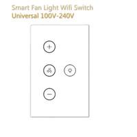 ingrosso interruttore comandi intelligenti di illuminazione-Wifi intelligente parete interruttore US regole pannello Intelligent Fan luce vetro temperato di tocco di telecomando Alexa Home page di Google Voice IFTTT APP Interruttore
