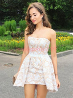 Wholesale white strapless cocktail length dress for sale - Group buy Sexy Lace Mini Homecoming Dresses Strapless Plus Size Arabic Knee Length Skirt Cocktail Party Club Wear Sleeveless Short Graduation Prom