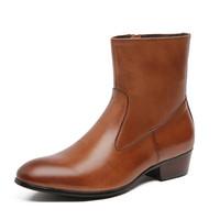 trendstiefel koreanische männer großhandel-Britische Business-Leder-Ankle-Boots aus Leder mit Punkt-Reißverschluss-Kopfschicht aus Rindsleder für Herren Koreanische Version des Trend-Single-Boots