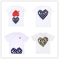 Wholesale mother daughter clothes red resale online - Cdg Play Commes Mens Designer T Shirts family Clothes Heart Sport Tee Shirts Des Garcons White Pablo Stripe Shirts mother father kids shirt