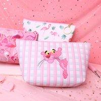 monedero rosa chicas al por mayor-Chicas Flamingo Pink Coin Purse 6 Diseños Bolsas impermeables para monedas PU Romántico Bolso de tarjeta Portátil con cremallera Auricular Bolsa 100 piezas DHL