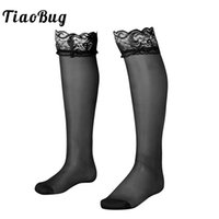 Wholesale black see through stockings resale online - TiaoBug Men Soft Mesh See through Sheer Floral Lace with Double Silicone Strip Top Anti slip Thigh High Sexy Male Sissy Stocking