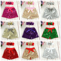 pantalon de danse en nylon achat en gros de-Bébé Filles Paillettes Shorts Pants Pantalon Décontracté De Mode Infant Glitter Bling Dance Boutique Bow Princesse Shorts Enfants Vêtements 17 couleur