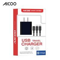 puerto de cargador de coche de buena calidad al por mayor-AICOO 3 en 1 Cargador de viaje USB multifunción con cable de carga Cabezal de carga universal para el paquete minorista de Android de tipo C